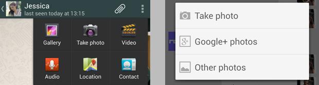 Diferencias compartir Whatsapp y Hangouts