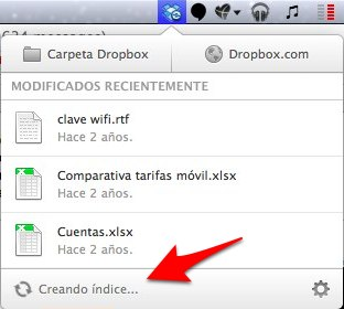 Problema Dropbox creando índice
