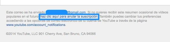 Eliminar suscripcion email