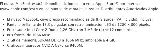 Precio de un MacBook de 2009