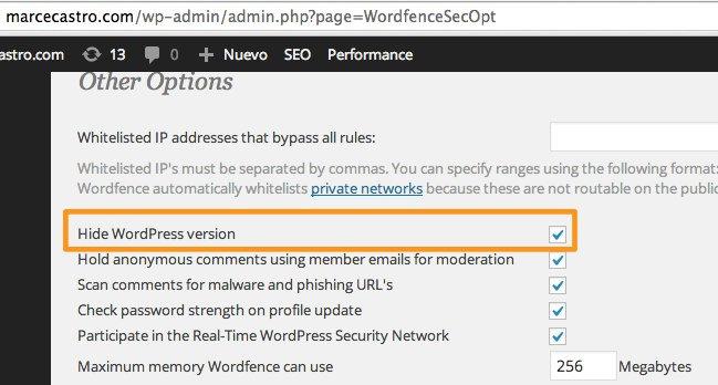 Wordfence ocultar version de wordpress