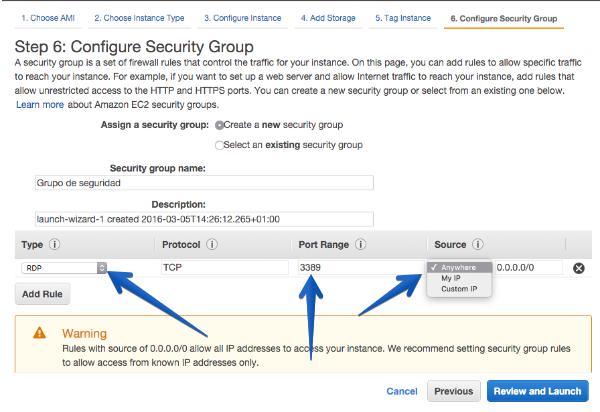 creacion grupo seguridad RDP windows