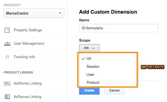 Google Analytics dimensión personalizada