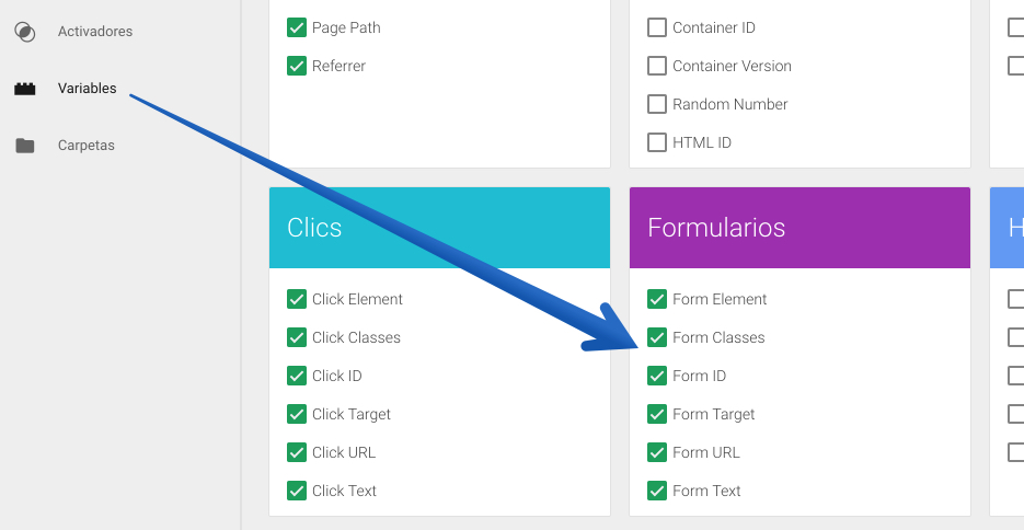 Google Tag Manager variables de formularios